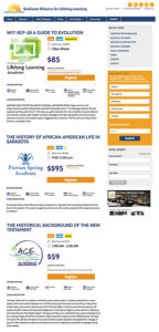 SunCoast Alliance for Lifelong Learning website: Course search listings page
