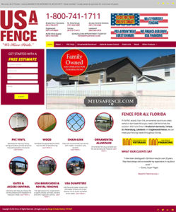 USA Fence website: home page