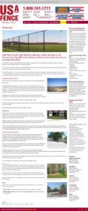 USA Fence website: Inside page