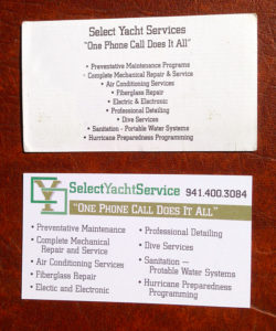 Business Card for Select Yacht Services Company Business Back