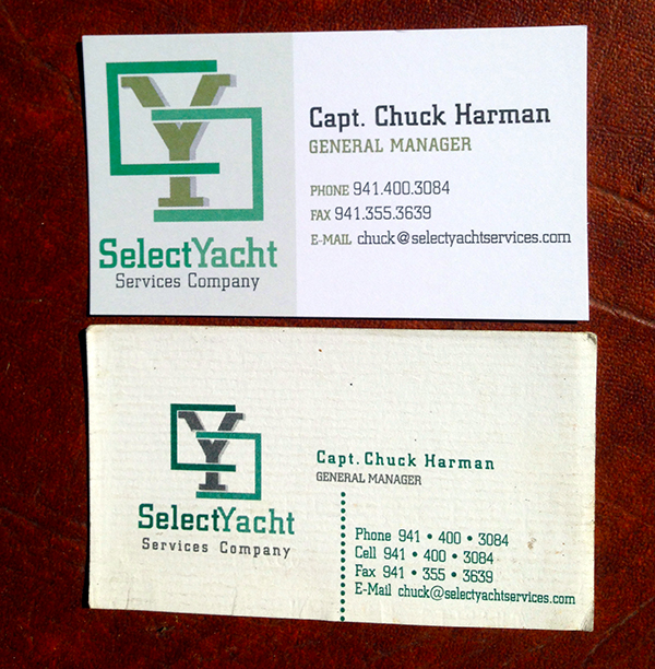 Business Card for Select Yacht Services Company Business