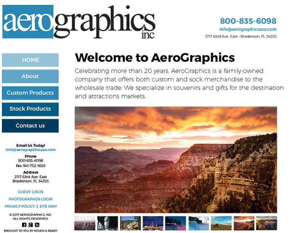 Aerographics Website Design by Rough & Ready Media