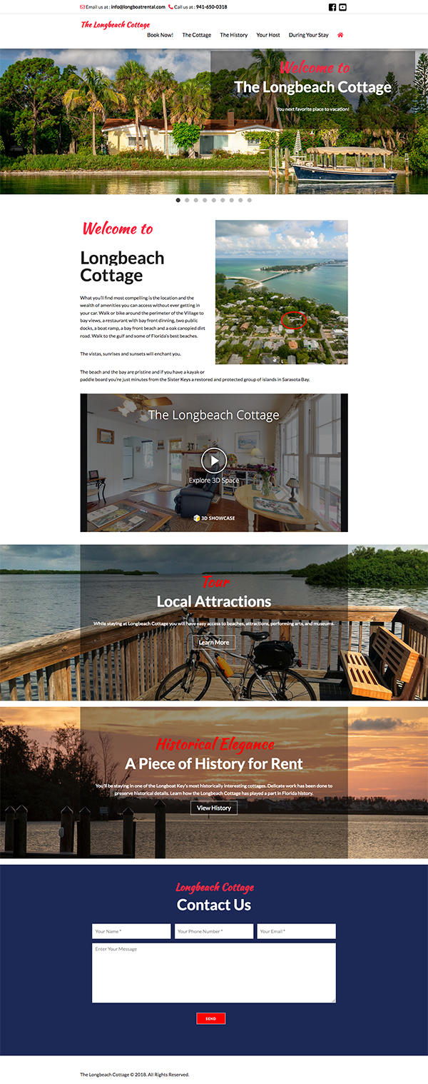 The Longbeach Cottage Website Design by Rough & Ready Media