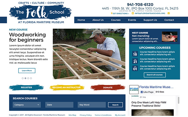 The Folk School at the Florida Maritime Museum Website Design by Rough & Ready Media