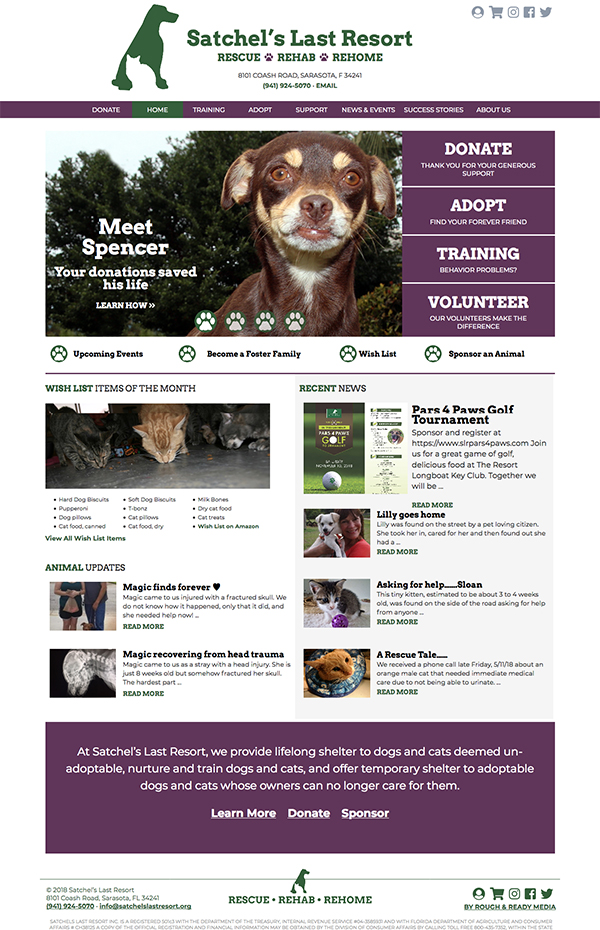 Satchel's Last Resort Website Design by Rough & Ready Media