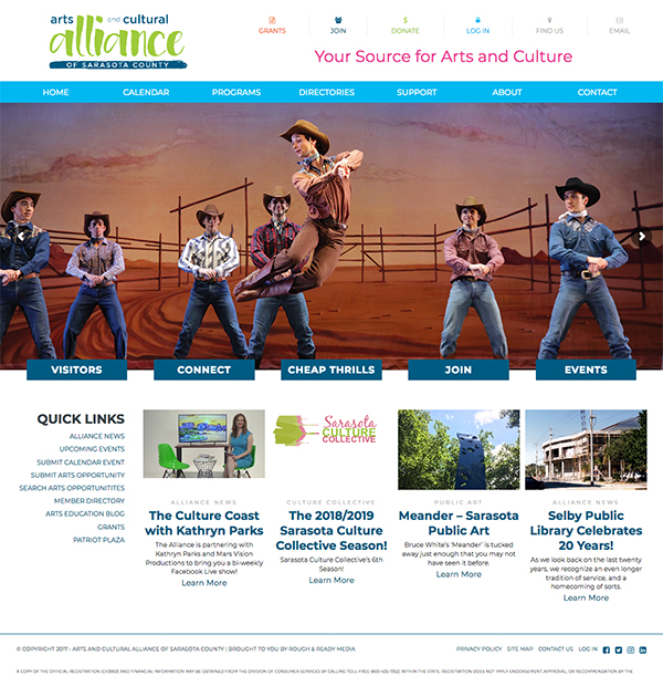 Arts and Cultural Alliance of Sarasota County Website Design by Rough & Ready Media