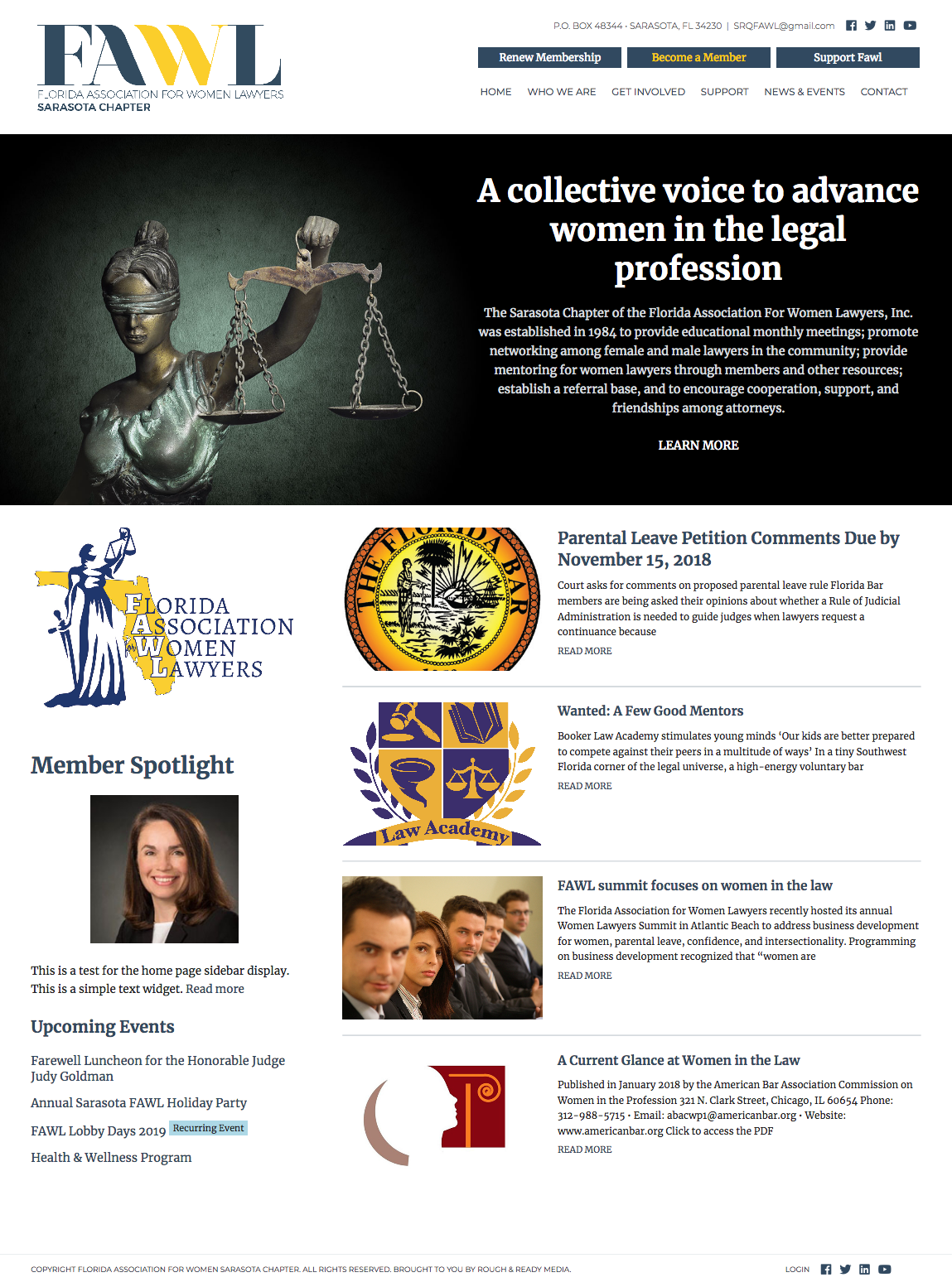 Florida Association for Women Lawyers Website Design by Rough & Ready Media