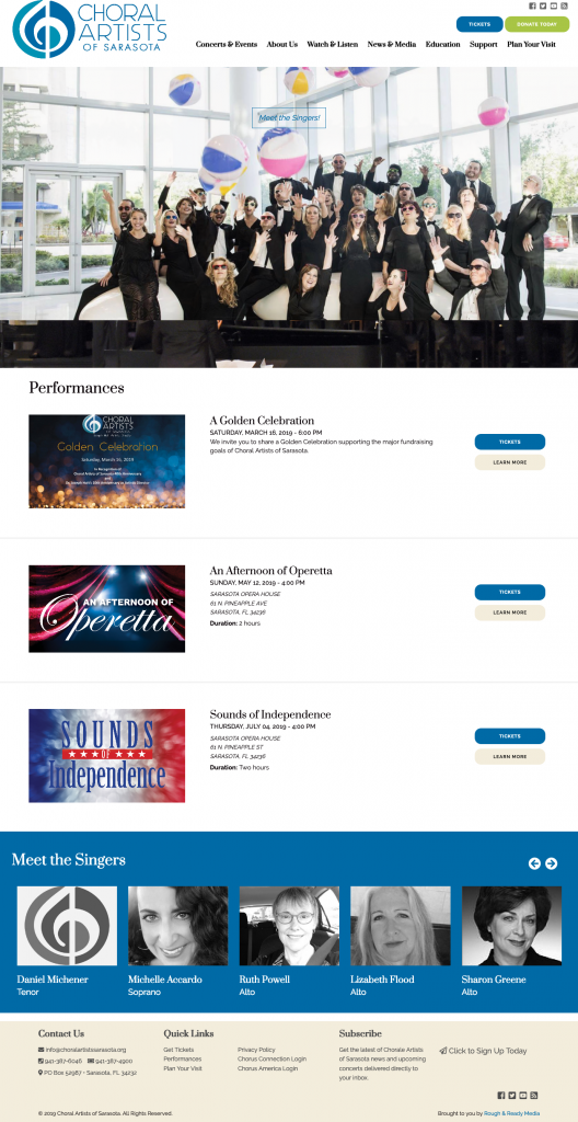 Choral Artists of Sarasota Home Choral Artists of Sarasota Rough & Ready Media Website