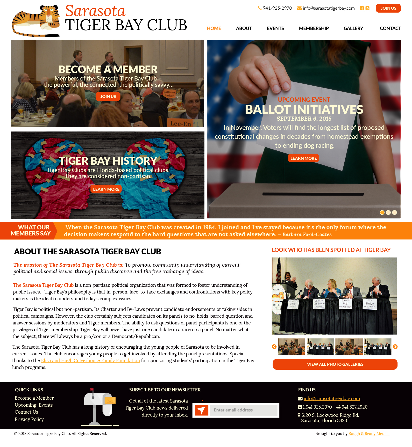 Sarasota Tiger Bay Website Design by Rough & Ready Media